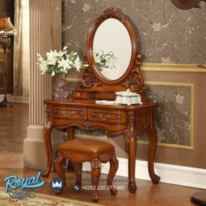 Meja Rias Terbaru Kayu Jati Mewah Oval Classic Furniture