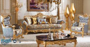 Set Sofa Kursi Ruang Tamu Mewah Terbaru Gold Ciragan Klasik Jepara