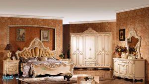 Set Kamar Tidur Mewah Italian Furniture Ukiran Putih Duco Terbaru