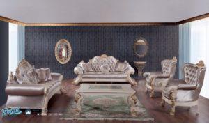 Set Kursi Sofa Tamu Mewah Silver Painted Terbaru