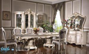 Set Meja Makan Klasik Mewah Ukiran Putih Duco Eropan Style Terbaru