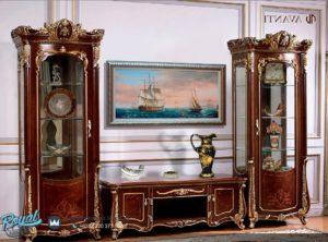 Set Bufet Tv Almari Hias Kayu Jati Mewah Klasik Ukiran Jepara Terbaru