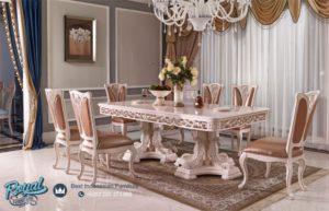 Set Meja Makan Mewah Jepara Baroque Style Italian Putih Duco Terbaru