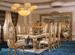 Set Meja Makan Mewah Klasik Golden Eropan Ukiran Mebel Jepara Terbaru