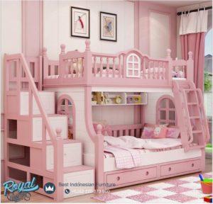 Tempat Tidur Kayu Tingkat Susun Anak Perempuan Pinky Terbaru