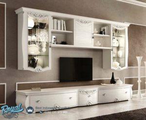 Bufet Tv Mewah Set Putih Duco Italian Furniture Ukiran Jepara Terbaru
