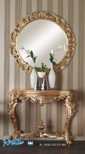 Meja Konsol Klasik Mewah dan Cermin Gold Ukir Patung Terbaru
