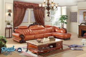 Sofa Tamu Mewah Leter L Sudut Leather Wooden Frame Ukiran Jepara Terbaru