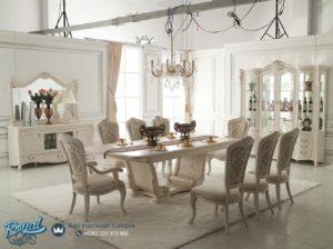 Meja Makan Mewah Modern Putih Duco Ukir Jepara Terbaru