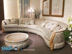 Sofa Tamu Mewah Ruang Keluarga Ukiran Klasik Leter L