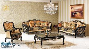 Set Kursi Sofa Tamu Klasik Mewah Black Gold Duco