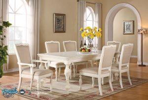 Set Meja Makan Mewah Modern Putih Duco Master Minimalis