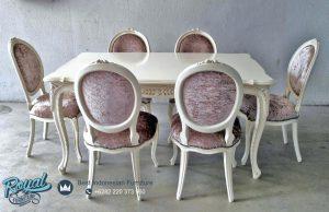 Set Meja Makan Oval Putih Duco Indian Furniture Jepara