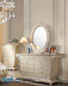Meja Konsul Hias Cermin Ukir Oval Modern Putih Duco