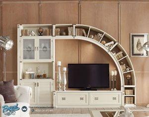 Model Bufet Tv Mewah Unik Kayu Jepara Curvy Terbaru