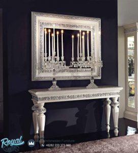 Meja Console Dan Cermin Modern Klasik Italian Putih Duco
