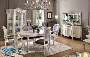 Set Meja Kursi Makan Putih Duco Mewah Modern Terbaru