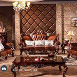 Model Kursi Sofa Tamu Kayu jati Jepara Terbaru Antique Luxury Italian Leather
