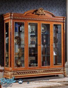 Lemari Hias Jepara Kayu Jati Mewah Klasik Ukiran Luxury Terbaru