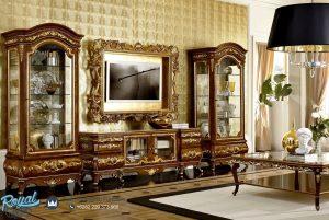 Model Bufet Tv Mewah Ukir Klasik Kayu Jati Jepara Terbaru Versailles
