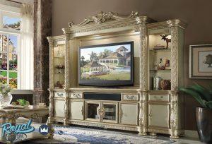 Lemari Bufet Tv Klasik Mewah Ukir Jepara Gold Champagne Eropan