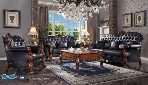 Sofa Tamu Jati Klasik Mewah Ukir Jepara Leather Black Carved