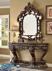 Console Table Classic Kayu Jati Natural Victorian Brown