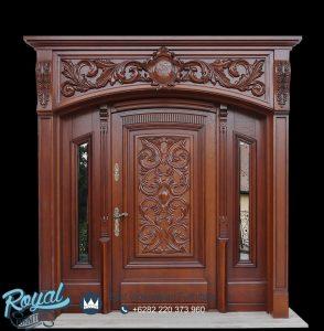 Desain Pintu Utama Jati Klasik Ukir Carved
