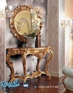 Meja Konsul Mewah Gold Ukiran Jepara Cermin Oval
