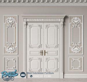 Pintu Kusen Kayu Modern Ukiran Jepara Warna Putih Duco