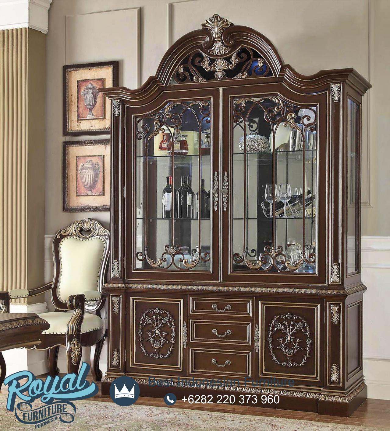 Desain Lemari Hias Ruang Tamu Klasik Eropa Jual Lemari Pajangan Jati Klasiik Terbaru Royal Furniture Gambar lemari hias ruang tamu