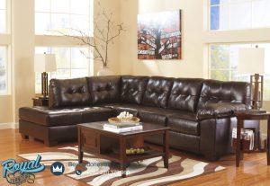 Desain Sofa Ruang Keluarga L Sudut Brown Leather